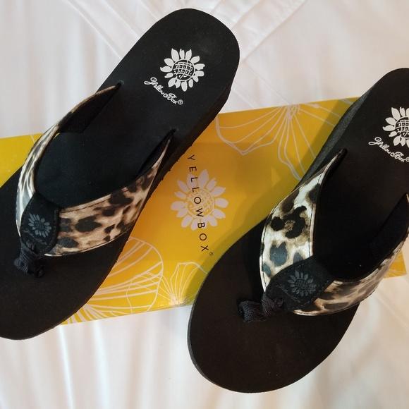 Brand New Yellow Box Flip Flops Multi Color 8.5